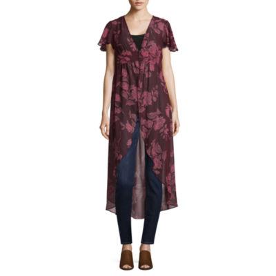 Arizona Short Sleeve Floral Kimono-Juniors