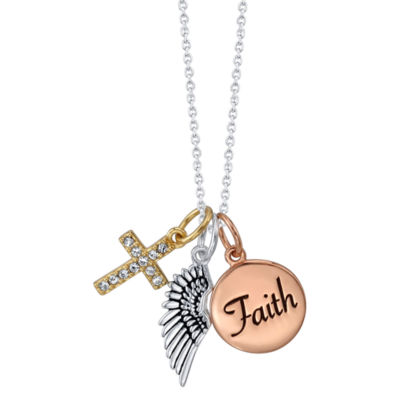 Footnotes Womens White Crystal Cross Pendant Necklace