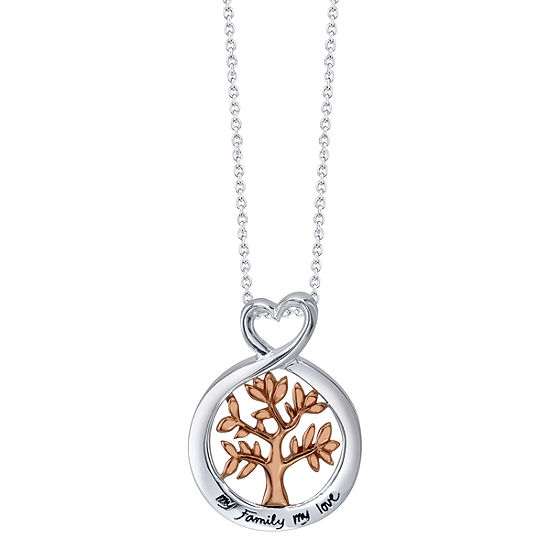 Footnotes Family Sterling Silver Heart Pendant Necklace