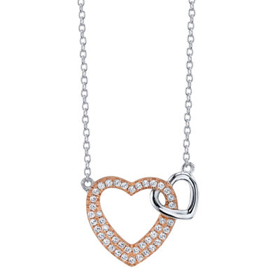 Footnotes Womens Clear Sterling Silver Heart Pendant Necklace