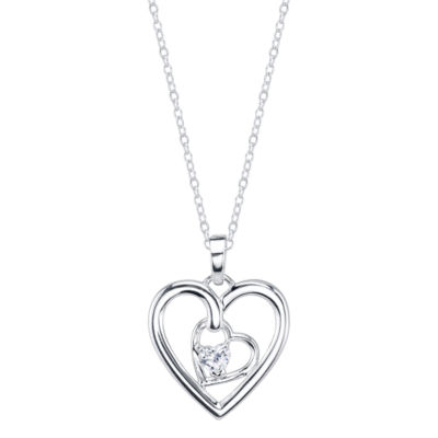 Footnotes Womens Clear Heart Pendant Necklace
