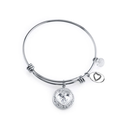 Footnotes Footnotes Clear Silver Tone Bangle Bracelet