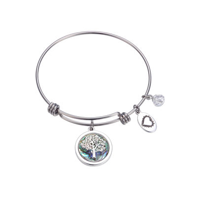 Footnotes Clear Silver Tone Bangle Bracelet