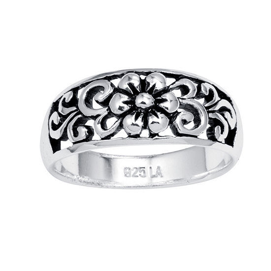 Footnotes Womens Sterling Silver Flower Band