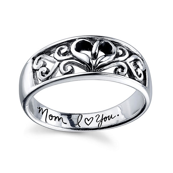 Footnotes Mom Sterling Silver Heart Band