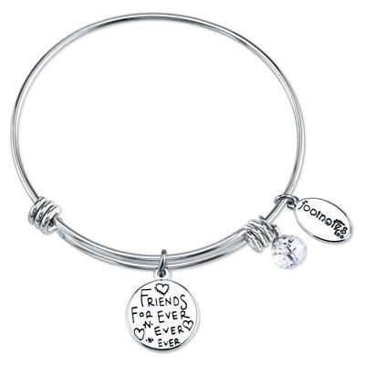 Footnotes Footnotes Footnotes Clear Silver Tone Pure Silver Over Brass Round Bangle Bracelet