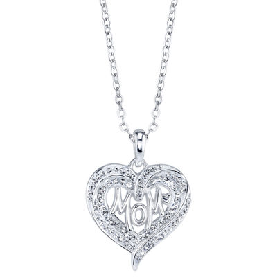 Sparkle Allure Womens Clear Crystal Pure Silver Over Brass Heart Pendant Necklace
