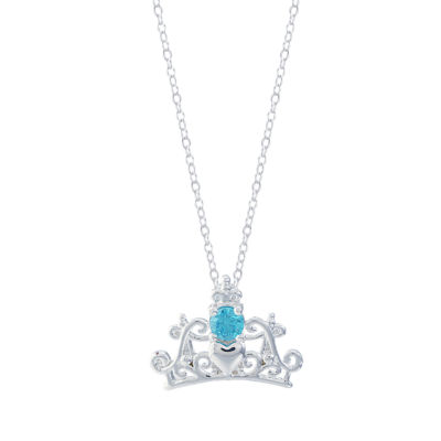 Disney Womens Blue Crystal Silver Over Brass Pendant Necklace