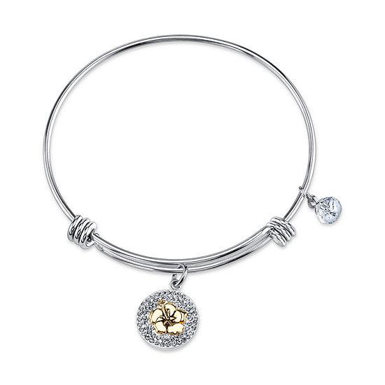 Disney Crystal Pure Silver Over Brass Lilo & Stitch Bangle Bracelet