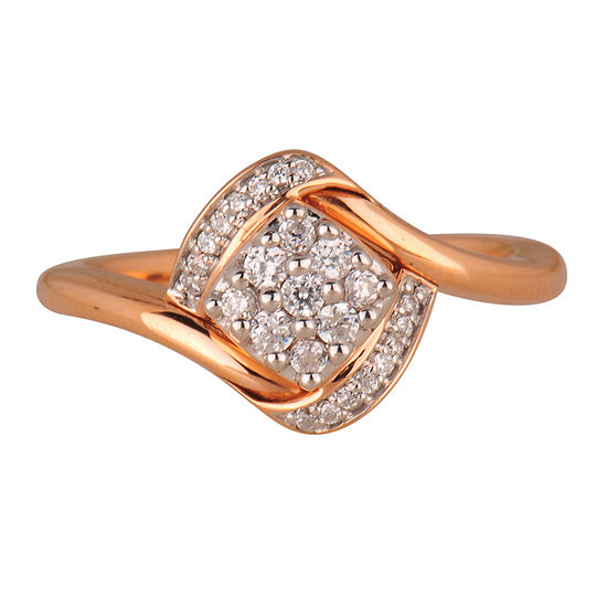 Womens 1/4 CT. T.W. Genuine White Diamond 10K Gold Flower Cluster Cocktail Ring