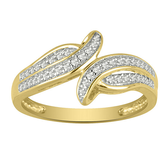 Womens 2MM 1/5 CT. T.W. Genuine White Diamond 10K Gold Band