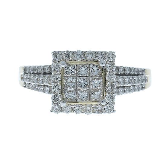 Womens 1 Ct Tw Genuine White Diamond 14k Gold Cocktail Ring