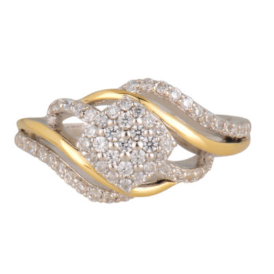 Womens 3/8 CT. T.W. White Diamond 10K Gold Cluster Ring