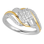 Womens 3/8 CT. T.W. Genuine White Diamond 10K Gold Cluster Cocktail Ring