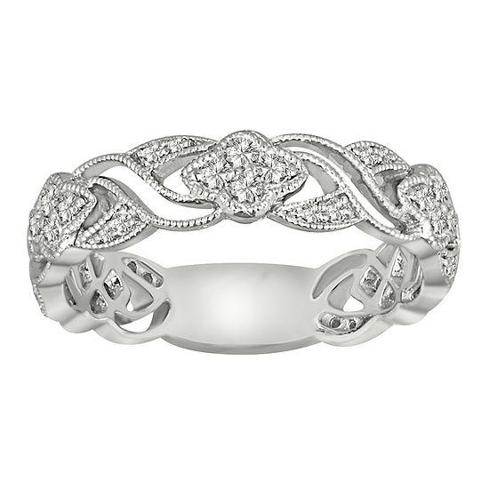 Womens 2MM 3/8 CT. T.W. Genuine White Diamond 10K Gold Band