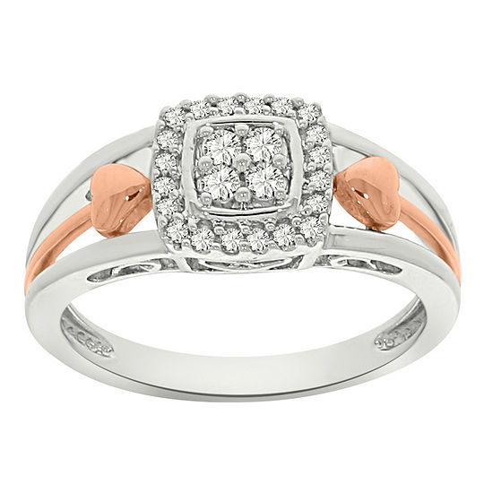 Womens 1/5 CT. T.W. Genuine White Diamond 10K Gold Cluster Cocktail Ring