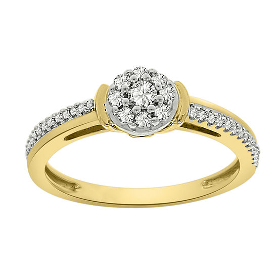 Womens 1 4 Ct Tw Genuine White Diamond 10k Gold Flower Cluster Cocktail Ring