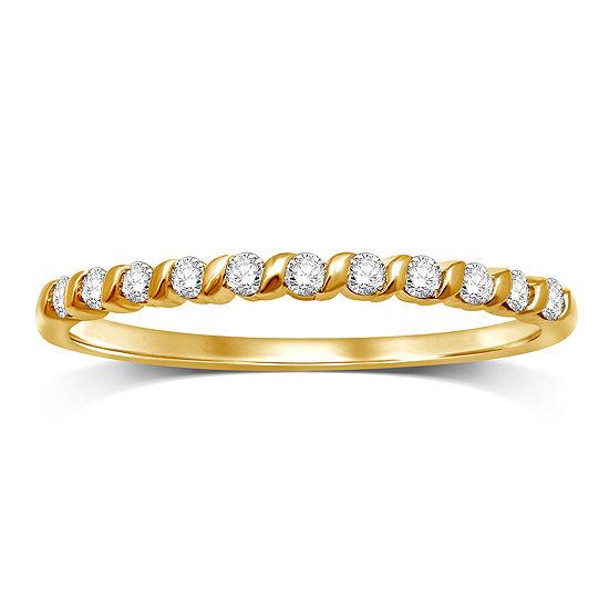 Womens 1 6 Ct Tw Genuine White Diamond 10k Gold Band