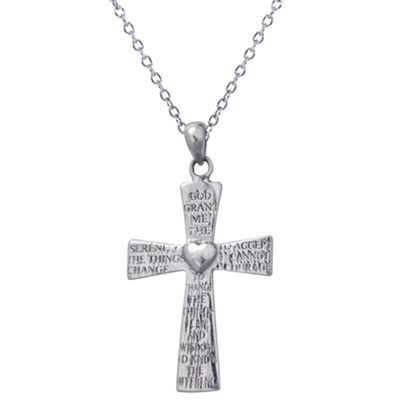Womens Sterling Silver Cross Pendant Necklace