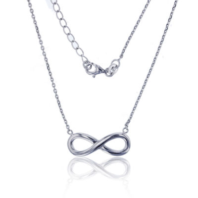 Womens Sterling Silver Infinity Pendant Necklace