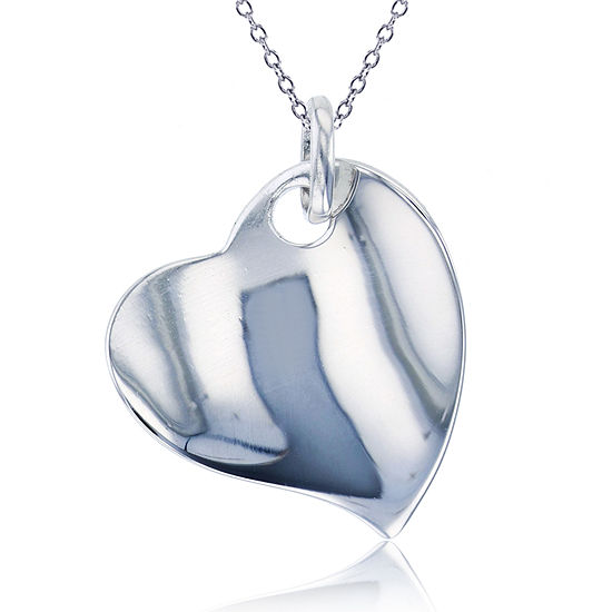 Womens Sterling Silver Heart Pendant Necklace
