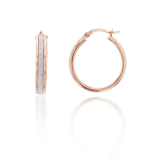 14K Rose Gold Over Silver 25mm Hoop Earrings