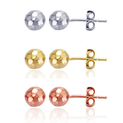 3 Pair 14K Gold Over Silver 14K Rose Gold Over Silver Earring Sets