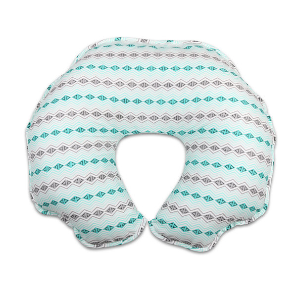 The Peanut Shell Mint and Grey Geo Nursing Pillows