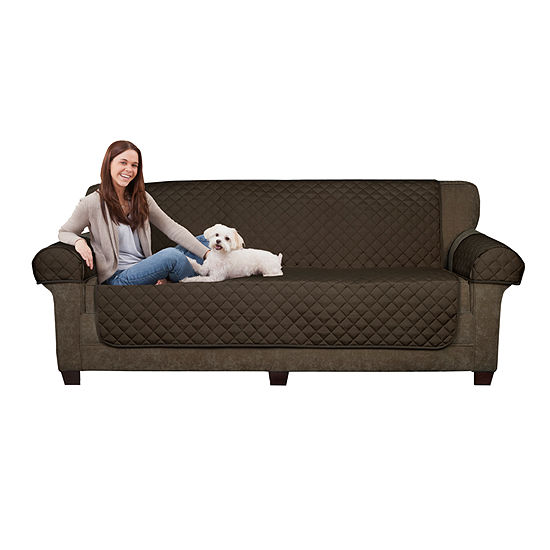 Maytex Smart Cover® Ultra Soft Waterproof Quilted Faux Suede 3 Piece Loveseat Furniture Pet Cover Protector