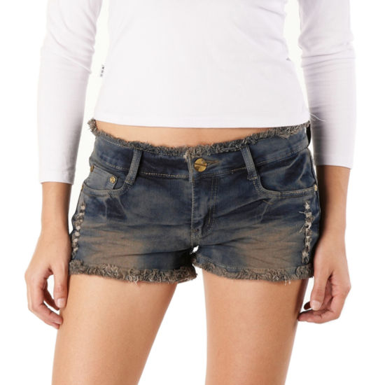 phistic Women's Destructed Denim Frayed Shorts