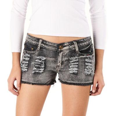 phistic Women's Destructed Denim Shorts