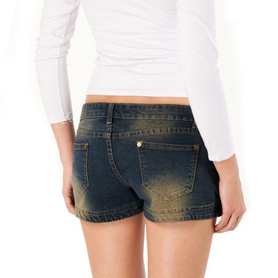 phistic Women's Distressed Denim Shorts with Decorated Buttons
