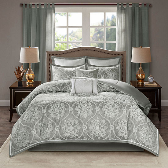 Madison Park Waylon Jacquard 8 Pc Comforter Set