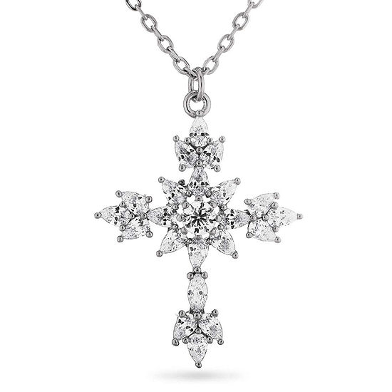 Womens Lab Created White Sapphire Sterling Silver Cross Pendant Necklace