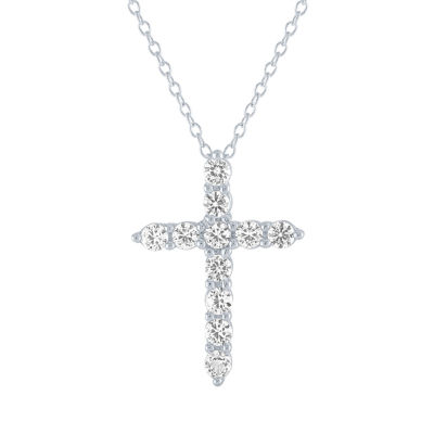 LIMITED TIME SPECIAL!  Lab Created White Sapphire Cross Pendant Necklace in  Sterling Silver