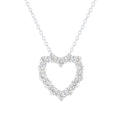 LIMITED TIME SPECIAL! Lab Created White Sapphire Heart Pendant Necklace in Sterling Silver