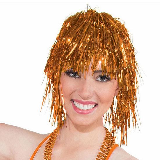 Orange Tinsle Wig Dress Up Accessory