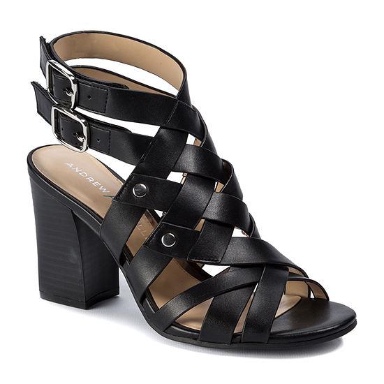 Andrew Geller Womens Bobbi Heeled Sandals Stacked Heel