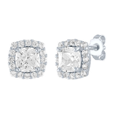 LIMITED TIME SPECIAL! Lab Created White Sapphire 8mm Stud Earrings in Sterling Silver