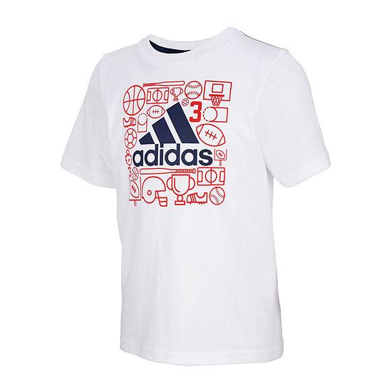 Adidas Boys Round Neck Short Sleeve Graphic T Shirt Preschool