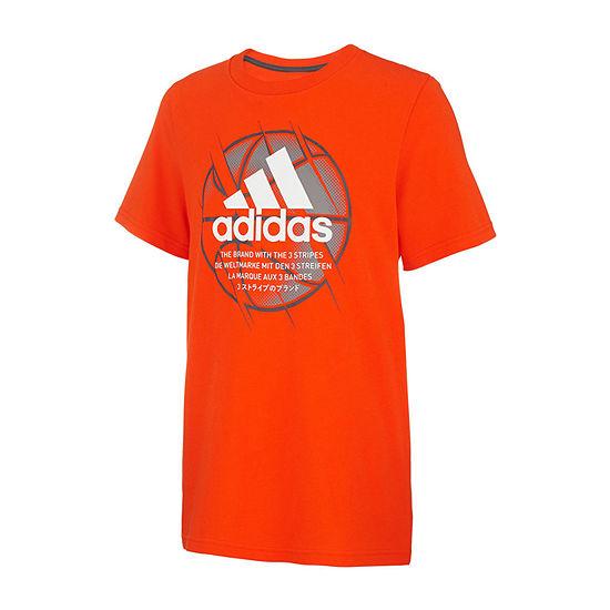 adidas Boys Round Neck Short Sleeve Graphic T-Shirt Preschool