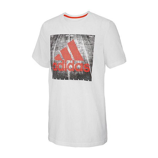 adidas Boys Round Neck Short Sleeve Graphic T-Shirt Big Kid