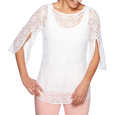 Lark Lane Martinique Womens Round Neck 3/4 Sleeve Lace Lined Blouse