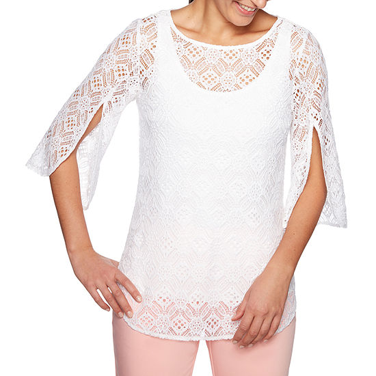Lark Lane Martinique Womens Round Neck 3 4 Sleeve Lace Lined Blouse
