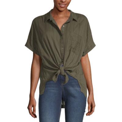 a.n.a Tie Front Short Sleeve Shirt - Tall