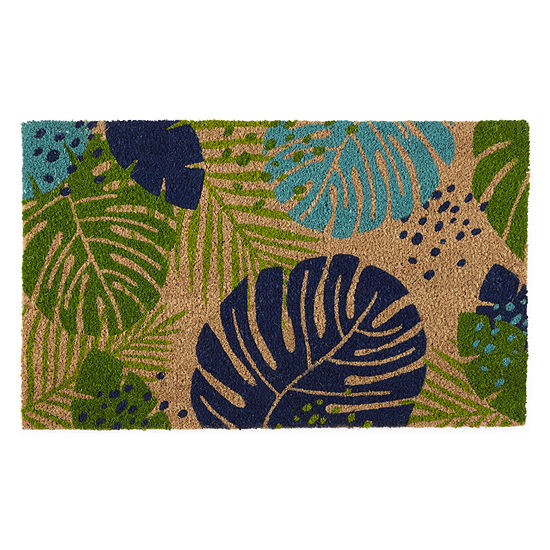 Evergreen ® Tropical Leaves Printed Rectangular Indoor/Outdoor Doormat