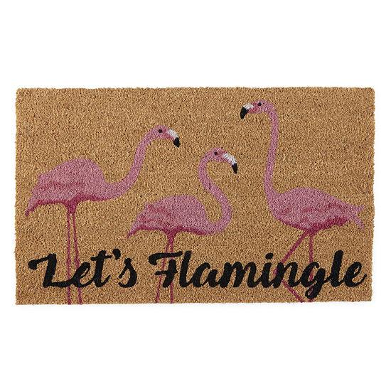 Evergreen ® Let'S Flamingle Printed Rectangular Indoor/Outdoor Doormat