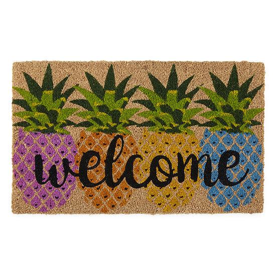 Evergreen ® Welcome Pineapples Printed Rectangular Indoor/Outdoor Doormat