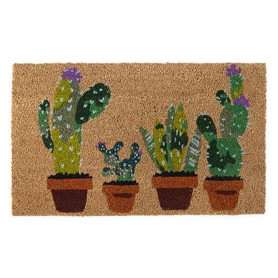 Evergreen ® Succulents Printed Rectangular Indoor/Outdoor Doormat