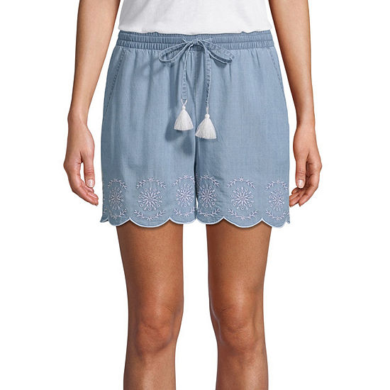 St Johns Bay Womens Mid Rise Pull On Short